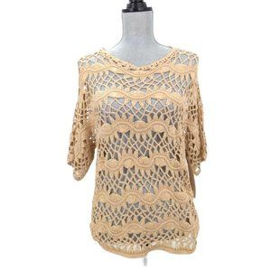 Chicos 0 Open Crochet Pullover Sweater Womens S